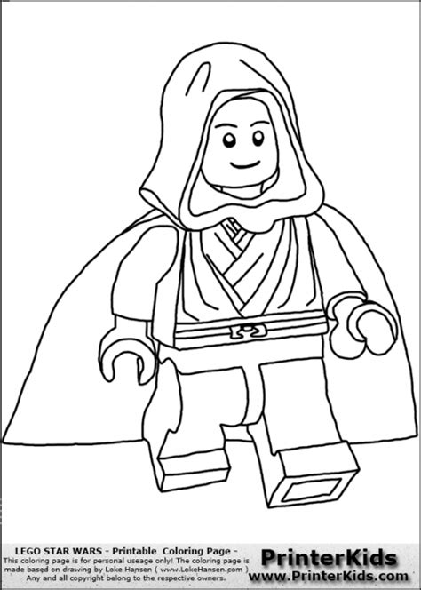Skywalker From Lego Star Wars Kids Printable Coloring Page Lego Wars Coloring Pages To Print