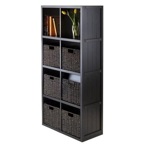 Wainscoting Shelf by 7pc 4x2 Wainscoting Shelf With 6 Husk Baskets In Black 20653