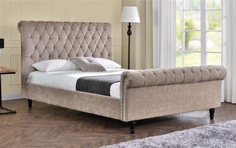 Upholstered Sleigh Bed Frame Sleigh Bed Upholstered Fabric Frame Velvet Chenille Or King Size Ebay