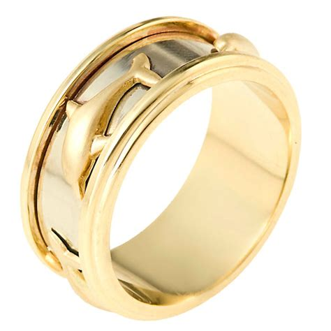 Two Tone Wedding Bands by 111851 14k Two Tone Wedding Band