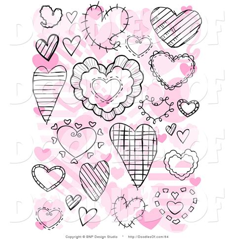doodle pink vector clipart of a collage of black doodle hearts