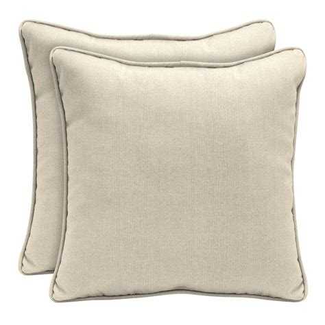 home decorators outdoor pillows home decorators collection sunbrella canvas flax square outdoor throw pillow 2 pack ah1p545b