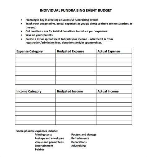 sle grant budget template fundraising budget template 28 images event budget