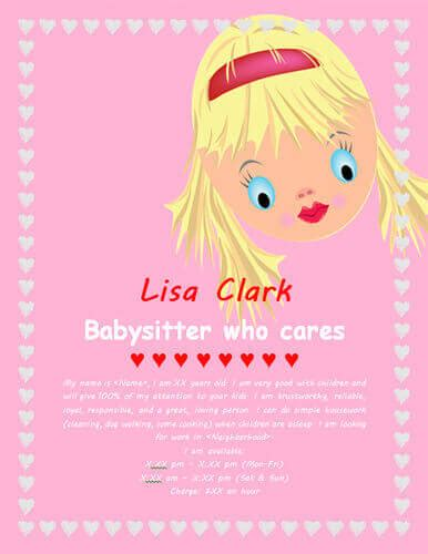 Adds Spon List Pink babysitting flyers and ideas 16 free templates