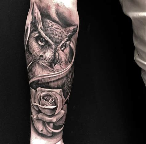 owl and rose tattoo owl and by fernando gonzalez
