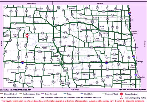 road conditions map in usa map of dakota cities and towns road conditions