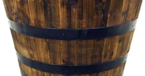Real Wood 26 In Half Whiskey Barrel Planter G3056 The Home Depot Whiskey Barrel Planters