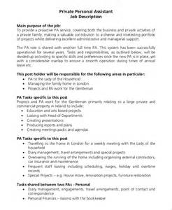 Duties Of Assistant by Sle Personal Assistant Description 9 Exles In