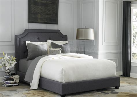 br upholstered bed  dark grey fabric  liberty
