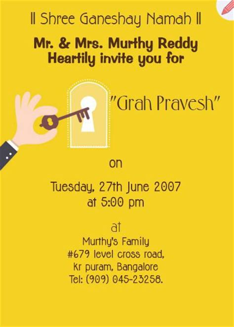 Invitation Letter Format For Griha Pravesh Cool Collection Of House Warming Invitations At Free Of Cost