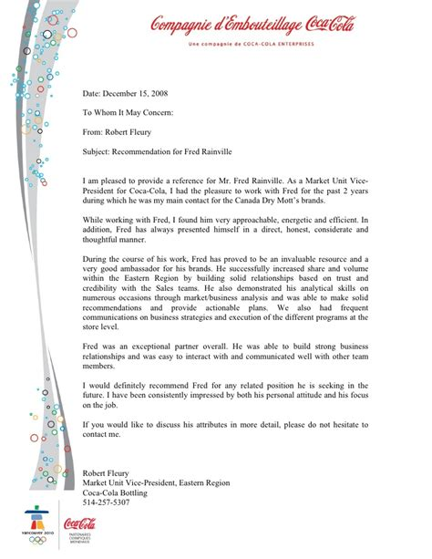 Support Letter For Business Partner Recommendation Letter