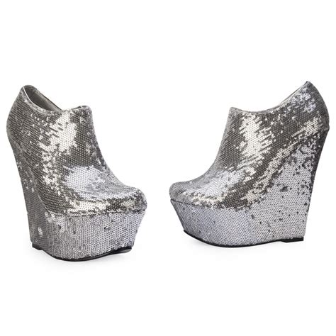 new silver sequined wedge heel womens shimmer