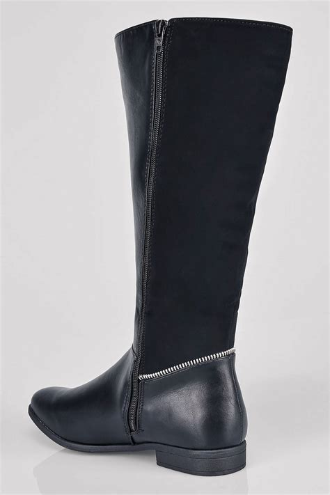Australia Post Address Lookup Black Zip Detail Wide Calf Boots With Contrast Panel In Eee Fit 4eee To 10eee