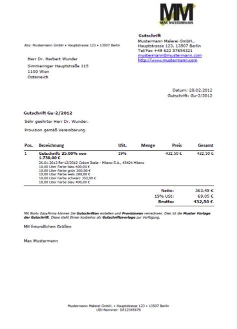 Muster Rechnung Vermittlungsprovision Vorlagen Und Muster Der Rechnungssoftware Easyfirma