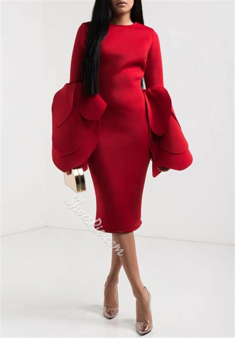 Sleeve Bodycon Dress fashion petal sleeve sleeve bodycon dresses shoespie