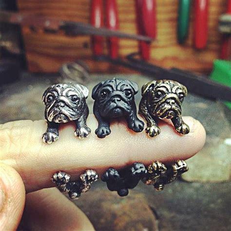 pug ring yacikopo handmade pug ring black silver golden colour