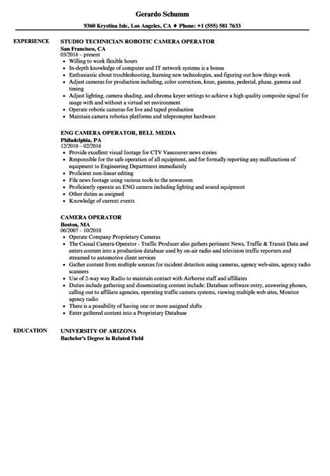 Cameraman Resume Format by Operator Resume Sles Velvet