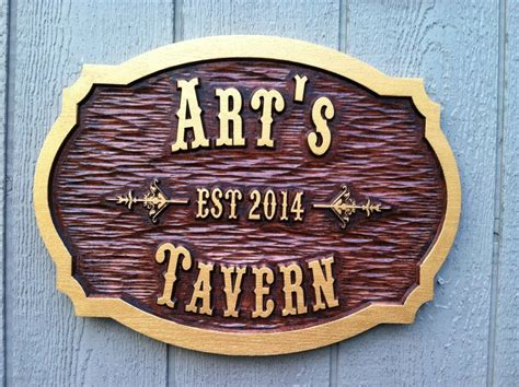 Painting V Carved Signs by Customized Oak Wood Carved Tavern Pub Bar Sign Bp20
