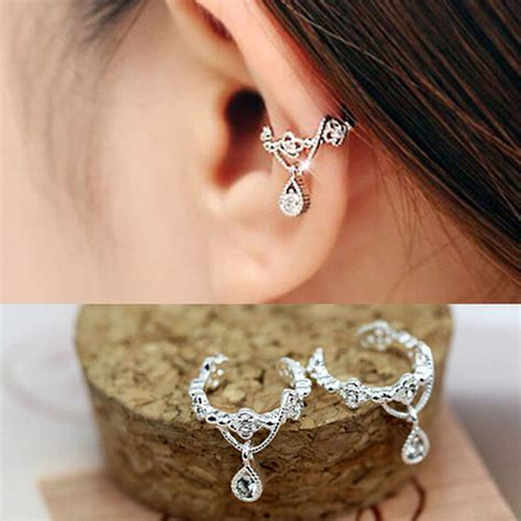 Ear Cuff Clip 1 Pc A891 1pc fashion ear cuff wrap rhinestone cartilage ear clip on