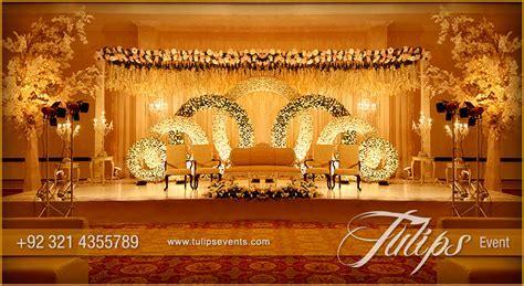 Gold Theme Stage Setup design ideas in Pakistan