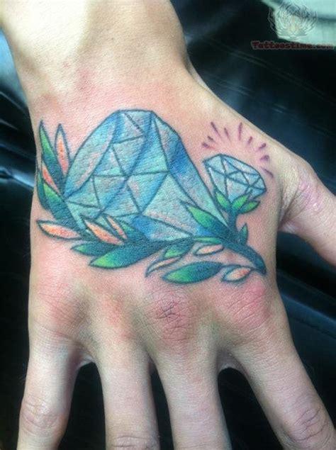 tattoo back hand blue diamond tattoo on back hand
