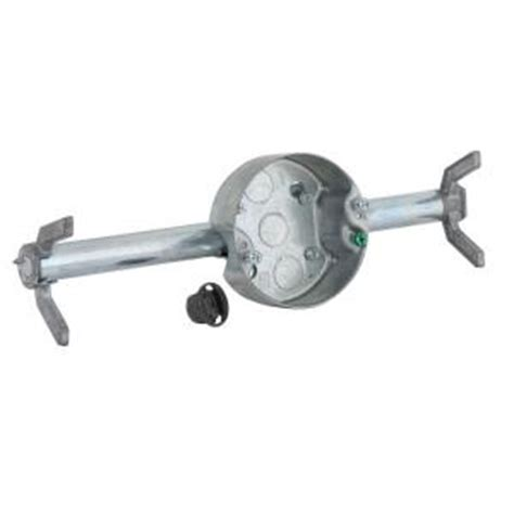 fan brace and box for suspended ceiling raco retro brace with 4 in round ceiling rated pan 1 1 2
