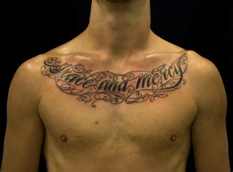 lettering tattoos for men chest designs