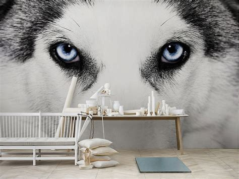Wolf Black and White Mural Painting   Viahouse.Com