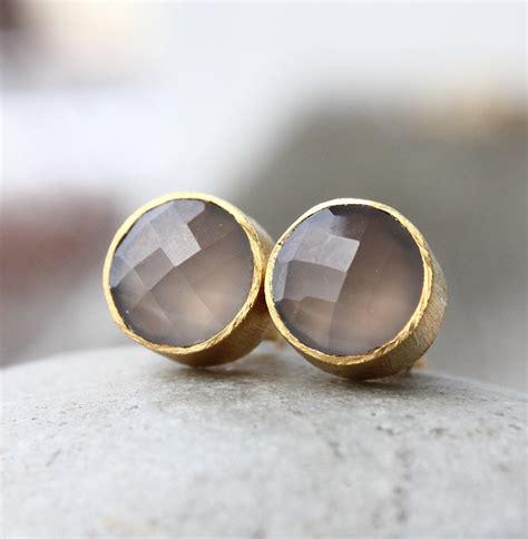 gold grey chalcedony gemstone stud earrings post setting
