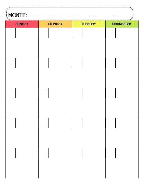 monday through friday calendar template monday through friday calendar template