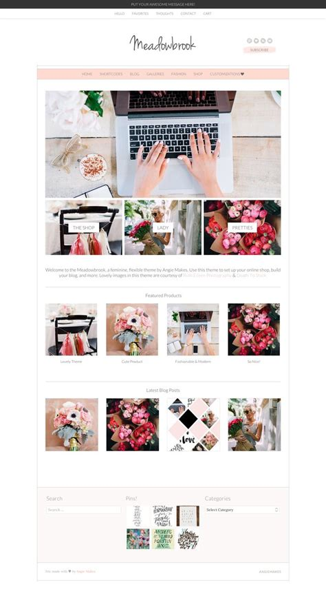 girly wordpress themes 48 best pretty wordpress themes feminine wordpress