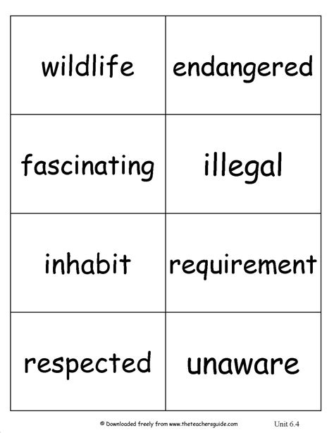 vocabulary card template 4 to a page 16 best images of teaching skills worksheets free