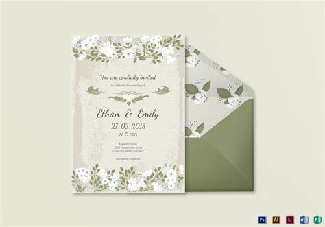 illustrator invitation card template vintage wedding invitation card template in psd word