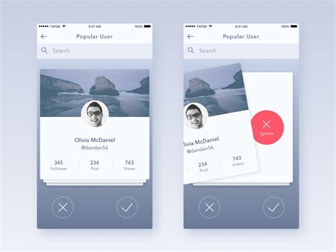ui layout ignore voice messaging app swipe interaction app user