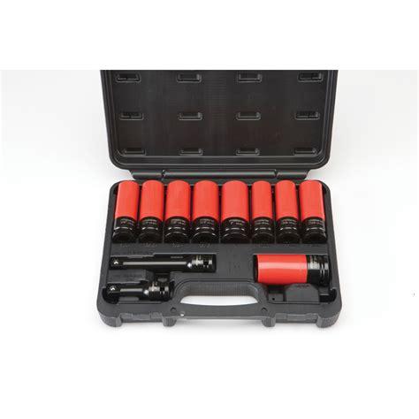 socket set organizer sale 1 2 in drive high torque lug nut impact socket set 11 pc