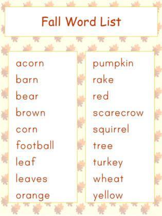 themes word list autumn vocabulary word list autumn activities for kids