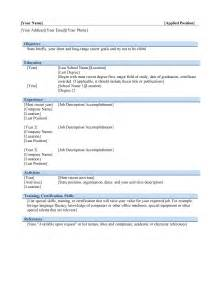 Resume Word Template by Basic Resume Template Free Microsoft Word Templates