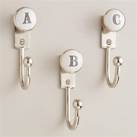 letter hooks for bathroom monogram letter hooks world market