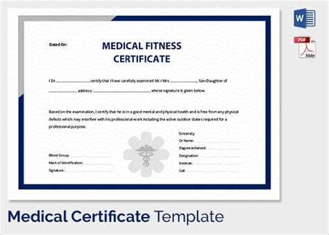 fitness certificate 33 useful certificates to sle templates