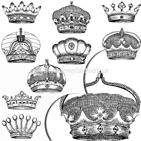 king crown brushes for photoshop 187 designtube creative hand drawn heraldic crowns vector graphics elements