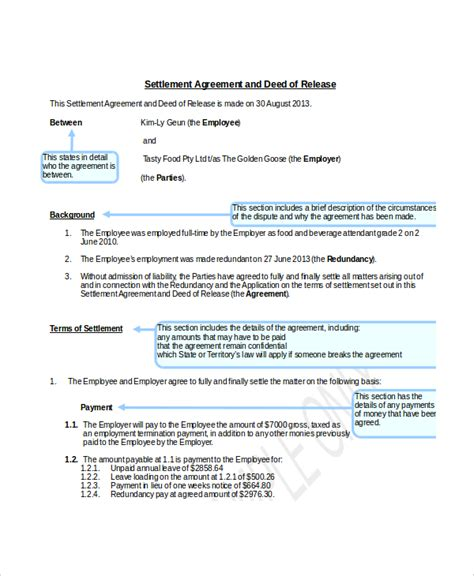 settlement agreement template uk 14 confidential settlement agreement templates free