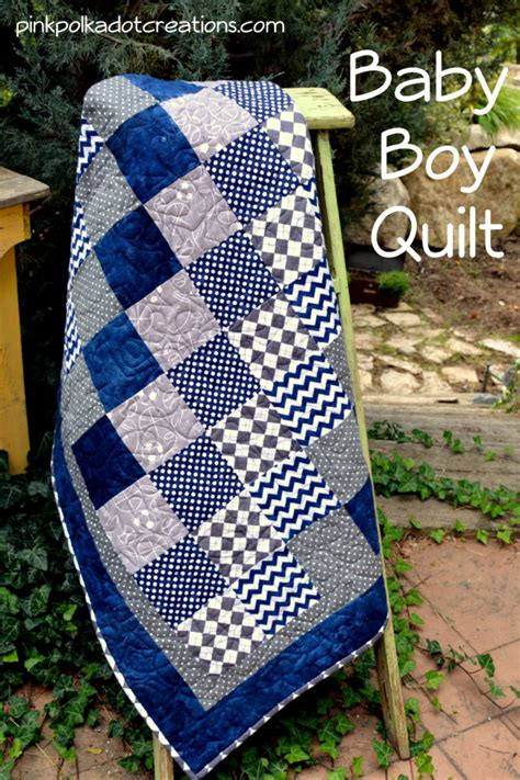 Baby Quilt Patterns For Boy by Baby Boy Quilt Pink Polka Dot Creations