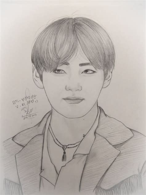 V Drawing Bts Easy by 방탄소년단 Bts 뷔 Taehyung Speed Drawing