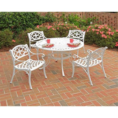 White Patio Dining Set Home Styles 42 In Biscayne White 5 Patio Dining Set 5552 308 The Home Depot