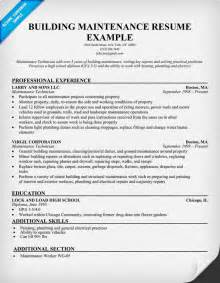 sample resume building maintenance supervisor