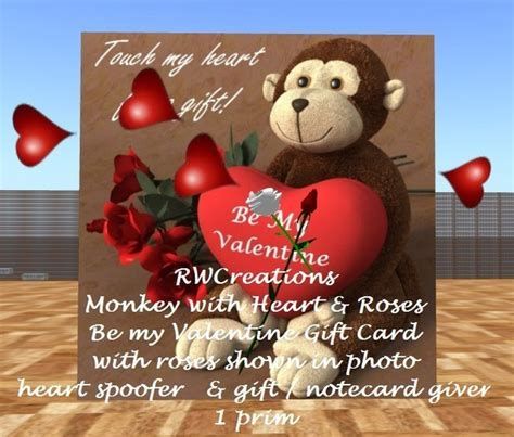 Gift Card Giver - second life marketplace monkey with heart roses be my valentine gift card with