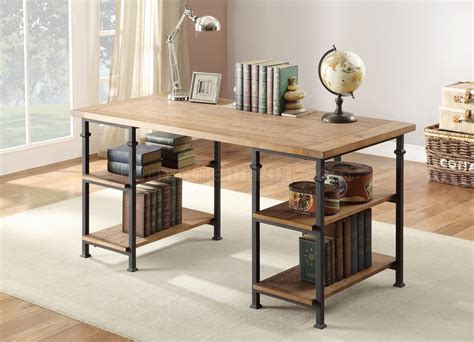 factory  writing desk  rustic oak  homelegance