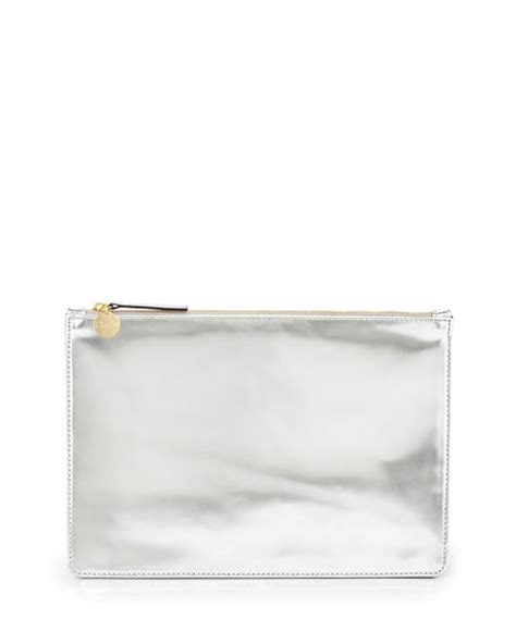 Mirror Clutch Bag by Clare V Mirror Metallic Flat Clutch Bag Silver