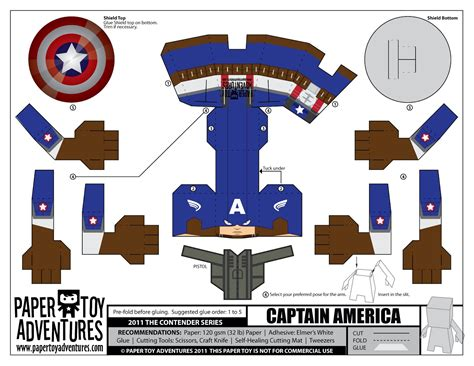 Captain America Papercraft - works one page papercraft templates