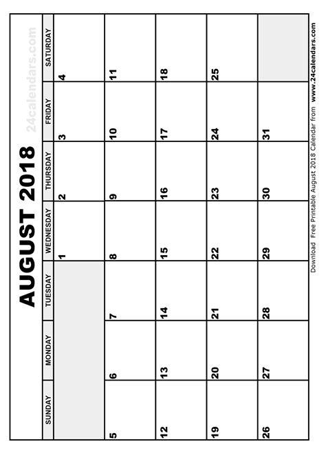 2018 August Calendar August 2018 Calendar Printable